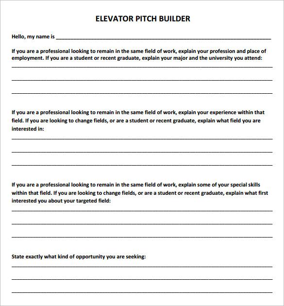elevator pitch builder