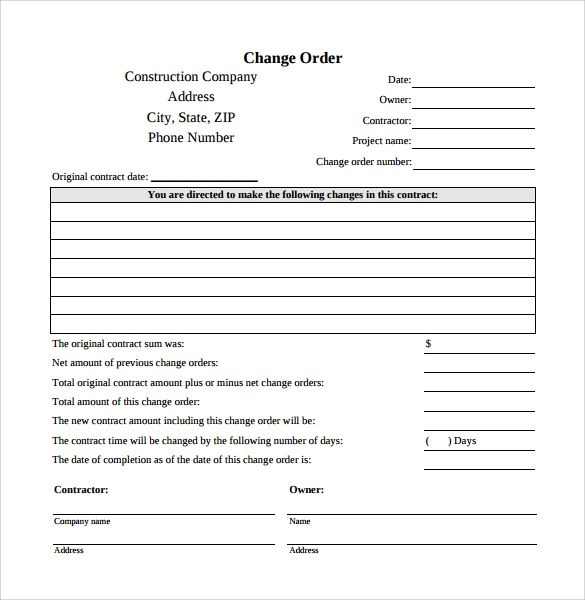change order template 8 Things You Should Do In Change - sample change order template