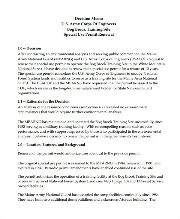 Sample Decision Memo - 18+ Documents in PDF, Word - army memo