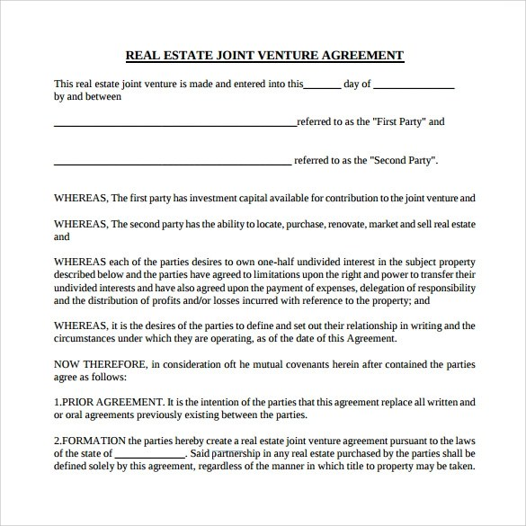 Joint Venture Agreement Template Real Estate  Sample Business
