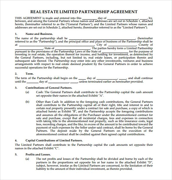 real estate partnership agreement template - Ozilalmanoof