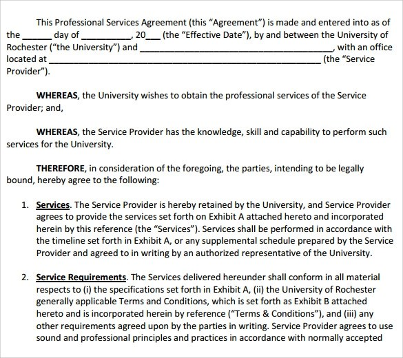 12 Professional Services Agreement Templates to Download Sample