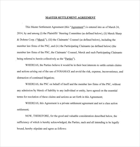 Sample Master Settlement Agreement - 10 + Free Documents in PDF - settlement agreement template