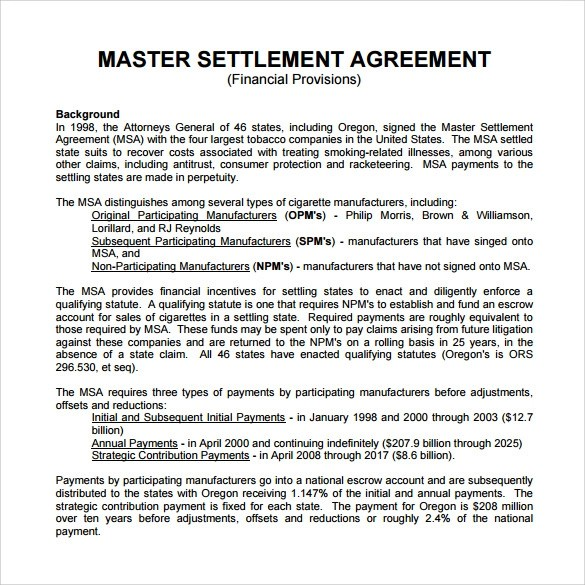 11 Master Settlement Agreement Templates to Download Sample Templates - Master Settlement Agreement