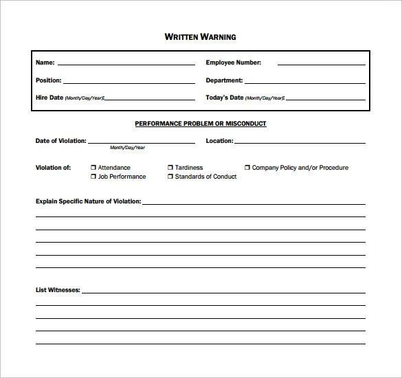 reprimand forms templates