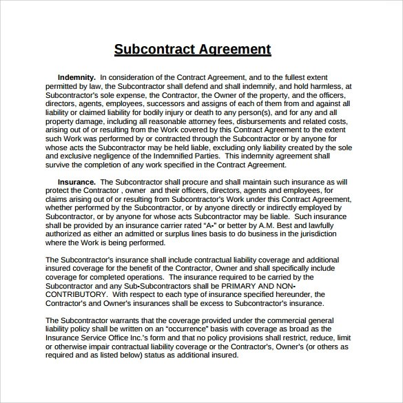 Sample Of Construction Work Agreement – Subcontractor Agreements