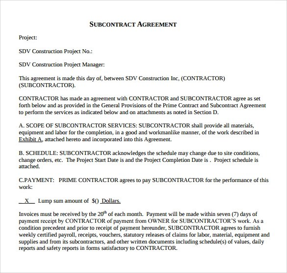 Sample Subcontractor Agreement - 14+ Documents in PDF, Word - subcontractor agreement template