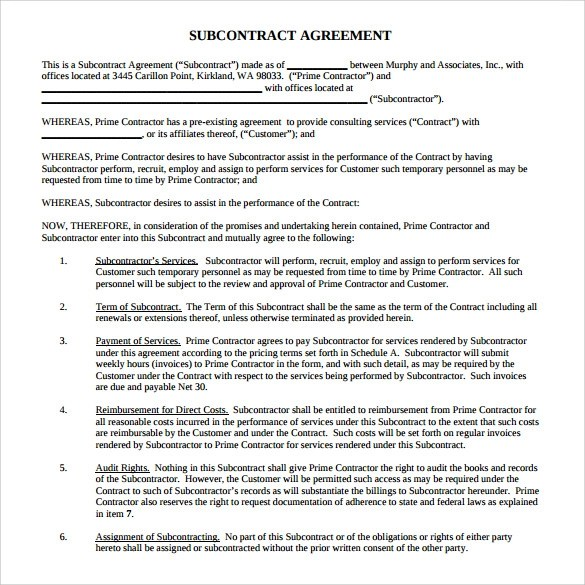 15+ Sample Subcontractor Agreements Sample Templates - subcontractor agreement