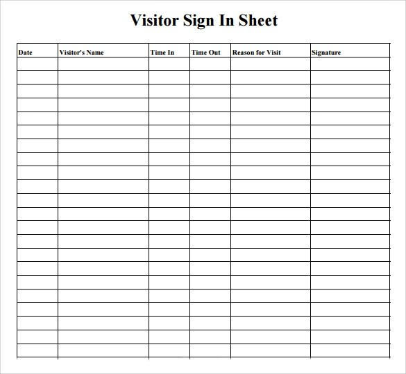 Sample Visitor Sign in Sheet - 10+ Documents in Word, PDF