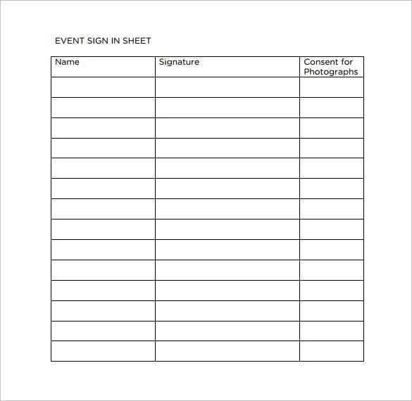 Template Sign In Sheet – Event Sign in Sheet Template Free