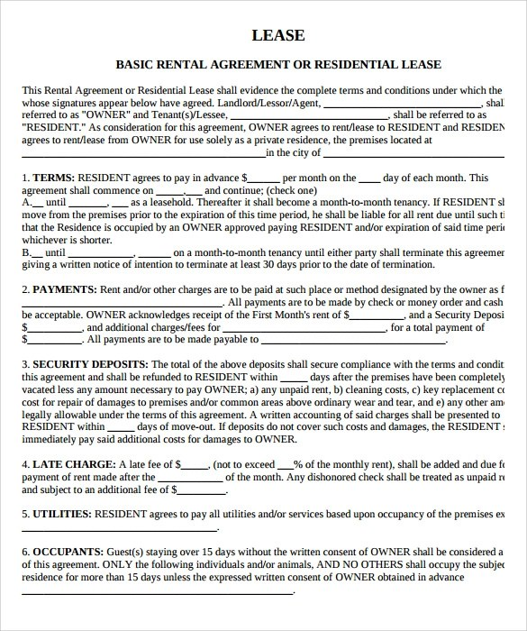 9 Property Lease Agreement Templates to Download for Free Sample - lease agreement in pdf