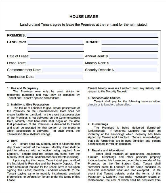 9 Property Lease Agreement Templates to Download for Free Sample