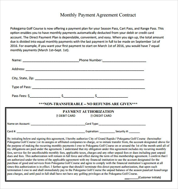 monthly payment contract - Funfpandroid