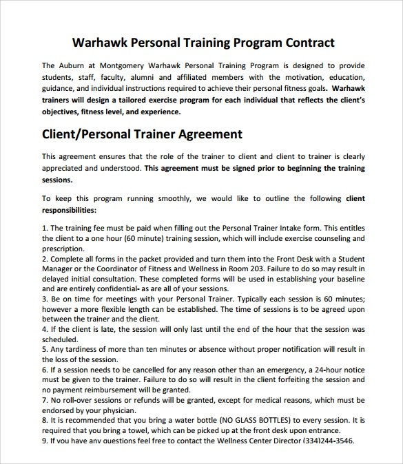 Training Agreement Training Contract Template Training Contract