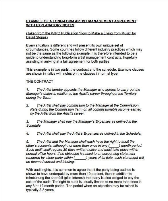 Contract Management Agreement Artist Contract Management Agreement