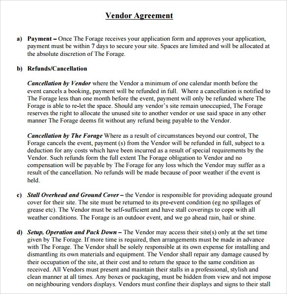 Sample Vendor Contract Template - 10+ Free Samples, Examples, Format - sample vendor contract