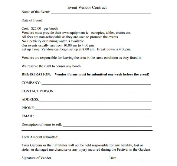 Sample Vendor Contract Template - 9+ Free Samples, Examples, Format - liability contract template