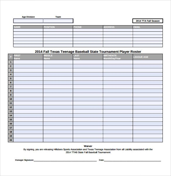 11 Sample Baseball Roster Templates to Download for Free Sample - baseball roster template