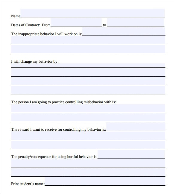 Student Behavior Contract Pdf | Create Professional Resumes Online