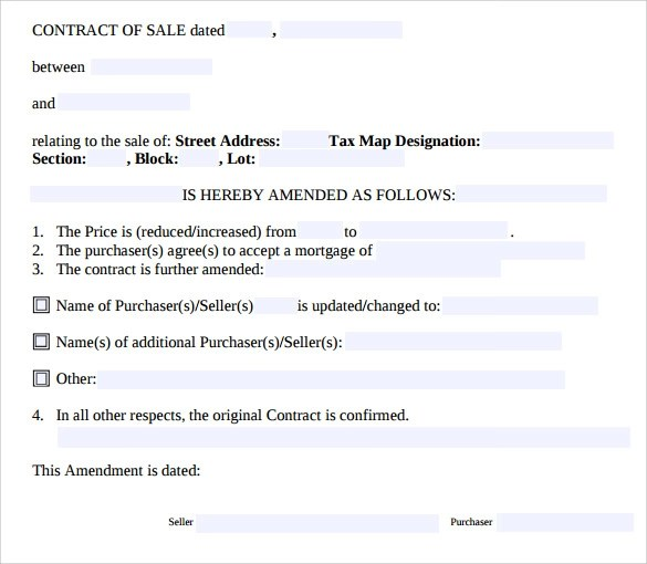 Contract Amendment Template - 9+ Free Samples, Examples, Format - sample contract amendment template