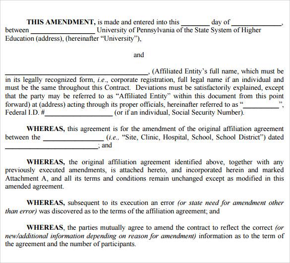 Contract Amendment Template - 11+ Samples Word, Google Docs Format