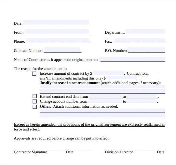 Contract Amendment Template Sales Agreement Template Car Sales