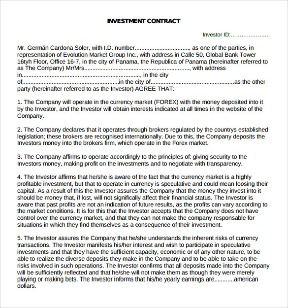 investor contract sample – Investor Contract Template Free