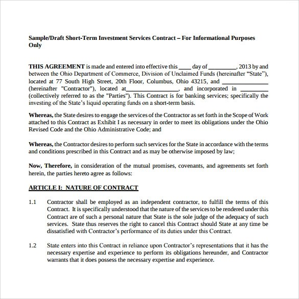 8 Investment Contract Templates \u2013 Sample, Example  Format Sample
