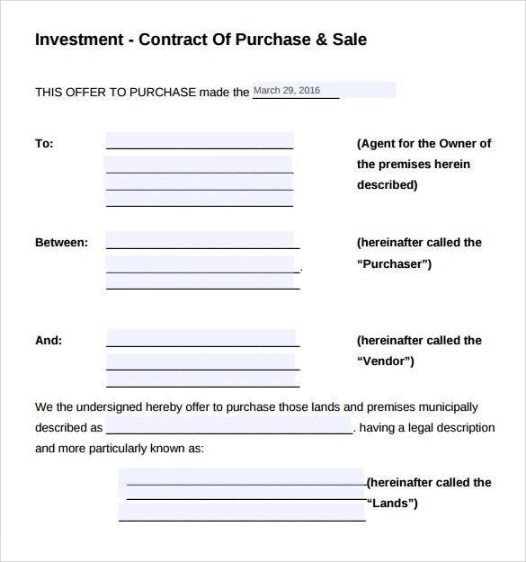Investment Contract Template - 12+ Sample Word, Google Docs Format