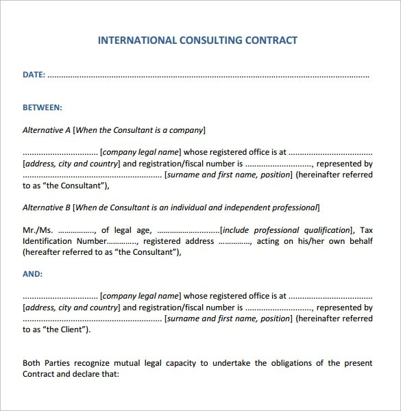 10 Consulting Contract Templates \u2013 Sample, Example  Format Sample - consulting contract template