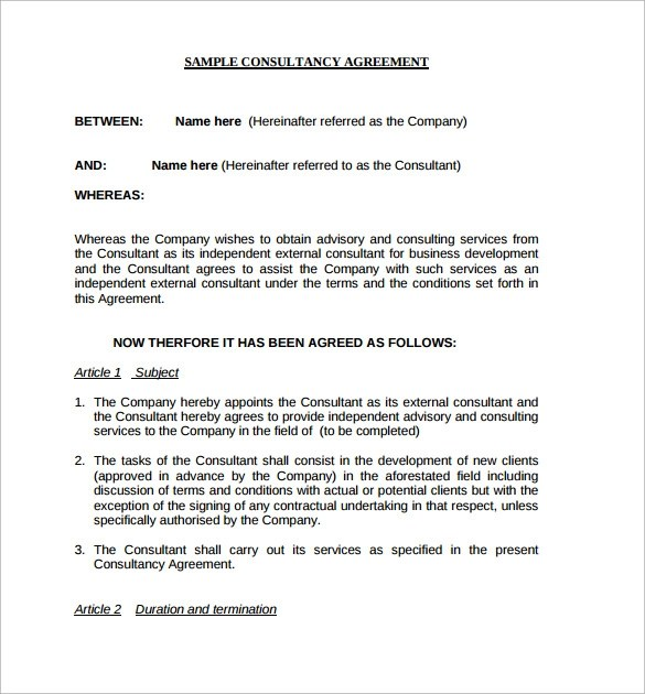 Consulting Contract Template - 12+ Free Sample, Example, Format