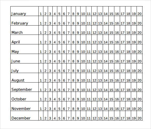menstrual calendar printable