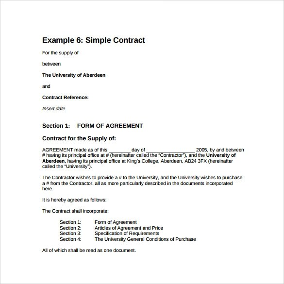 14+ Basic Contract Templates \u2013 Samples, Examples  Format Sample - supply contract templates