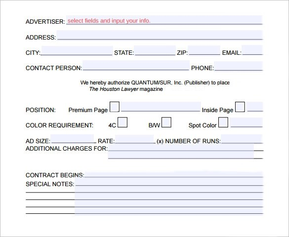 17 Advertising Contract Templates \u2013 Samples, Examples  Format