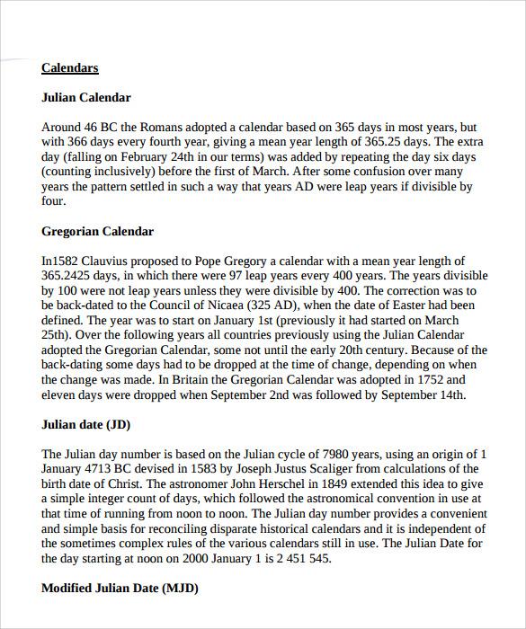 Sample Julian Calendar | cvfree.pro
