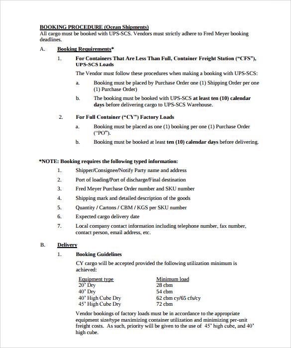 Shipping Manual Template - shipping manual template
