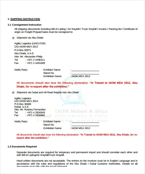 sample shipping manual template template - shipping manual template