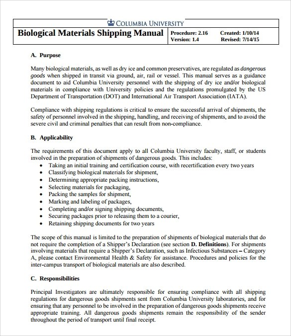 8+ Shipping Manual Samples Sample Templates - compliance manual template