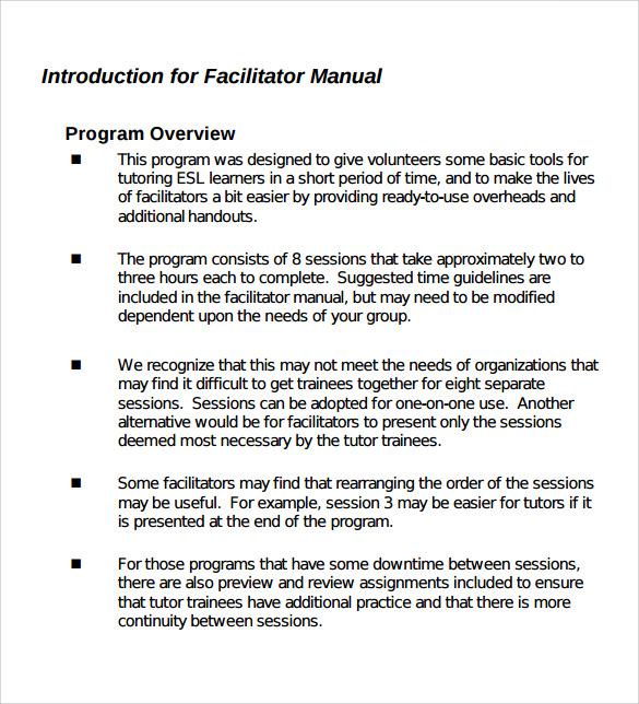 11+ Training Manual Samples - PDF