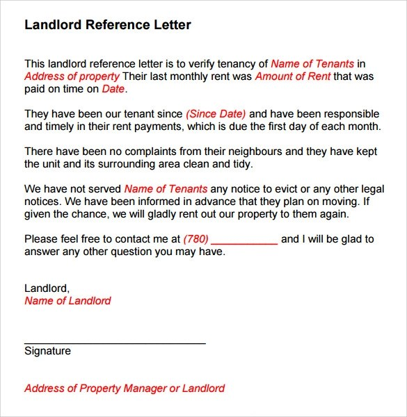 Sample Landlord Reference Template - 9+ Free Documents in PDF , Word - tenant reference letter
