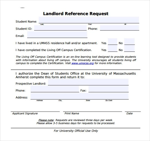Reference Request Form Request For Letter Of Rec Form (1) 50 - landlord reference letter