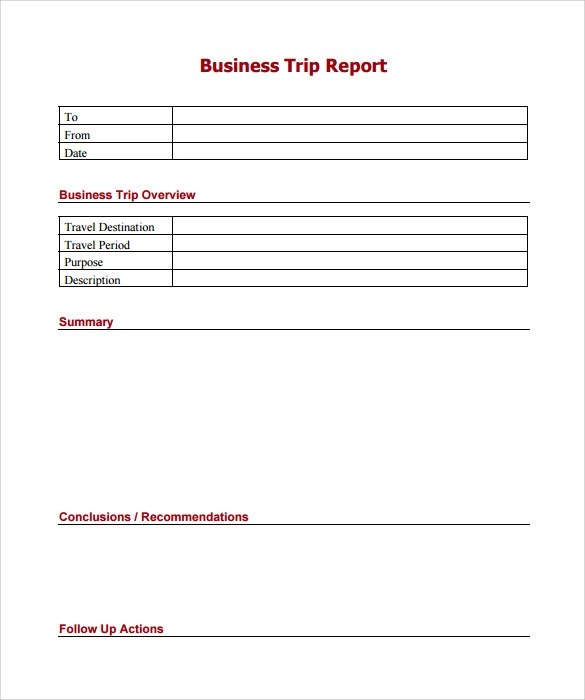 Sample of a business trip report  100 original papers