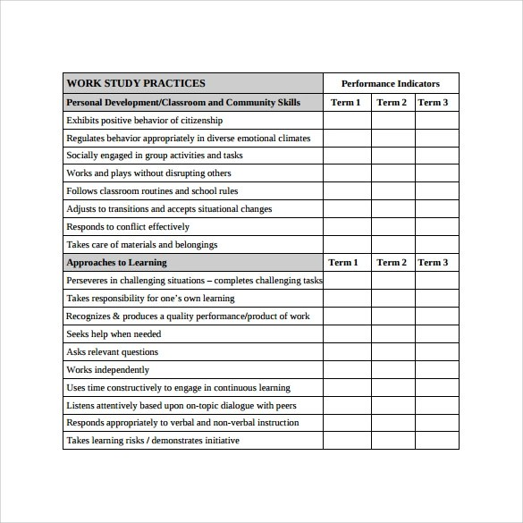 Report Card Template Printable | Job Application Form Describe