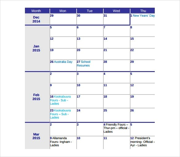 sample cute calendar template - fototango