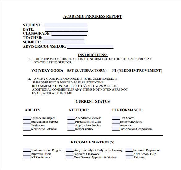17+ Sample Student Progress Reports Sample Templates