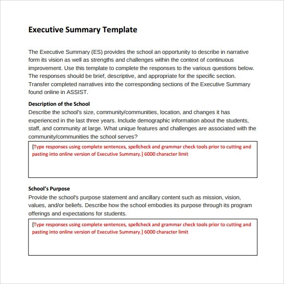sample executive report template - how to write an executive summary for a resume
