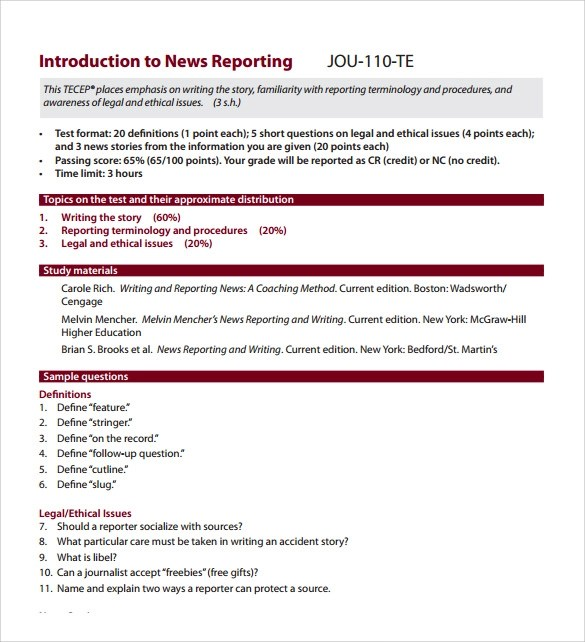 Sample News Report - 7+ Documents in PDF
