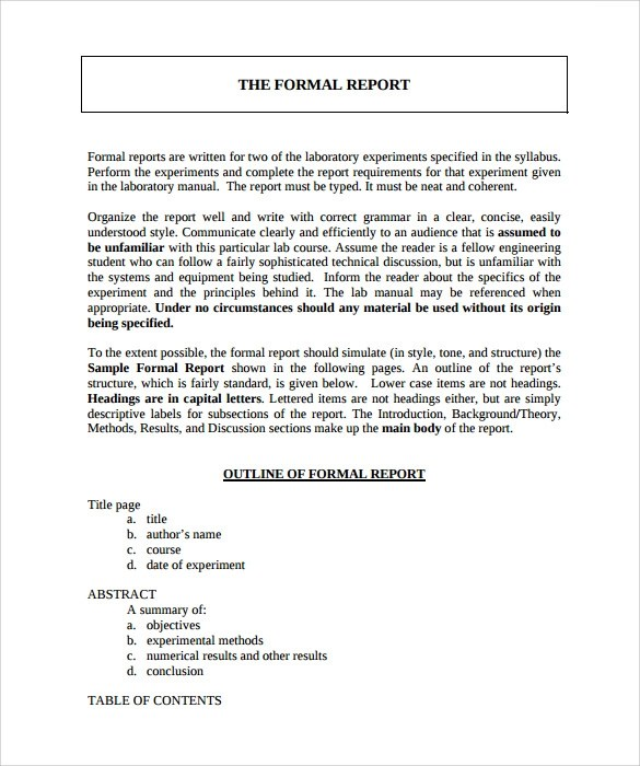Formal Report Template Word  NodeResumeTemplatePaasproviderCom