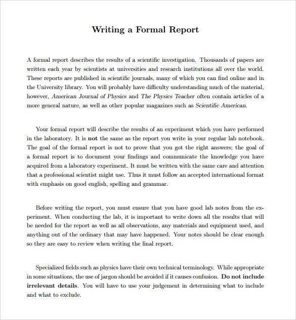 Business Contracts Forms Free – Formal Report Template