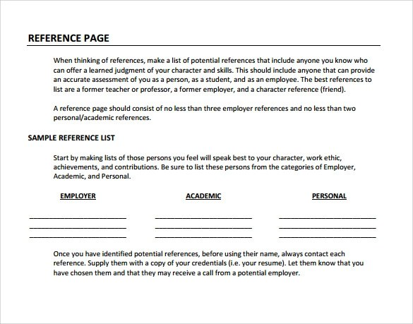 template reference page for resume – Template for Reference Page